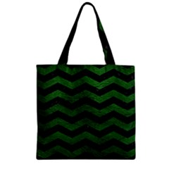 CHEVRON3 BLACK MARBLE & GREEN LEATHER Zipper Grocery Tote Bag