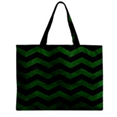 CHEVRON3 BLACK MARBLE & GREEN LEATHER Zipper Mini Tote Bag