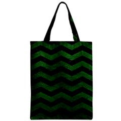 CHEVRON3 BLACK MARBLE & GREEN LEATHER Zipper Classic Tote Bag