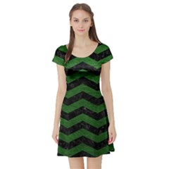 CHEVRON3 BLACK MARBLE & GREEN LEATHER Short Sleeve Skater Dress