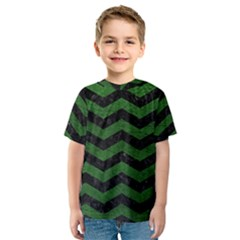 CHEVRON3 BLACK MARBLE & GREEN LEATHER Kids  Sport Mesh Tee