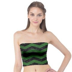CHEVRON3 BLACK MARBLE & GREEN LEATHER Tube Top