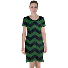 CHEVRON3 BLACK MARBLE & GREEN LEATHER Short Sleeve Nightdress