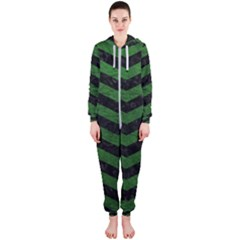 CHEVRON3 BLACK MARBLE & GREEN LEATHER Hooded Jumpsuit (Ladies)