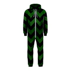 CHEVRON3 BLACK MARBLE & GREEN LEATHER Hooded Jumpsuit (Kids)