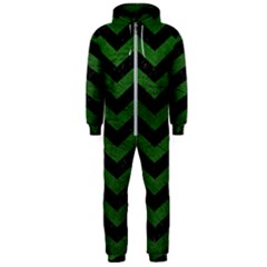 CHEVRON3 BLACK MARBLE & GREEN LEATHER Hooded Jumpsuit (Men)