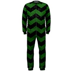 CHEVRON3 BLACK MARBLE & GREEN LEATHER OnePiece Jumpsuit (Men)