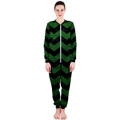 CHEVRON3 BLACK MARBLE & GREEN LEATHER OnePiece Jumpsuit (Ladies)