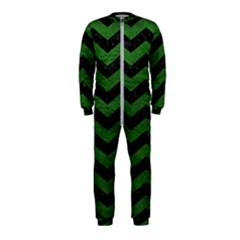 CHEVRON3 BLACK MARBLE & GREEN LEATHER OnePiece Jumpsuit (Kids)