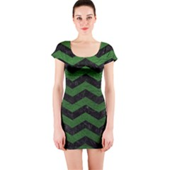 CHEVRON3 BLACK MARBLE & GREEN LEATHER Short Sleeve Bodycon Dress