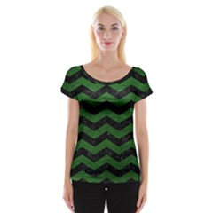 CHEVRON3 BLACK MARBLE & GREEN LEATHER Cap Sleeve Tops