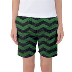 CHEVRON3 BLACK MARBLE & GREEN LEATHER Women s Basketball Shorts