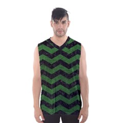CHEVRON3 BLACK MARBLE & GREEN LEATHER Men s Basketball Tank Top