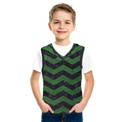 CHEVRON3 BLACK MARBLE & GREEN LEATHER Kids  SportsWear