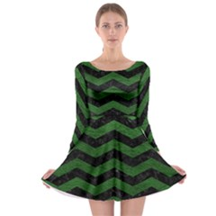 CHEVRON3 BLACK MARBLE & GREEN LEATHER Long Sleeve Skater Dress