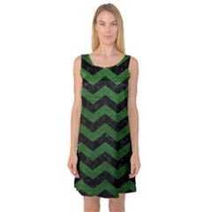 CHEVRON3 BLACK MARBLE & GREEN LEATHER Sleeveless Satin Nightdress