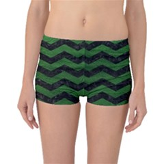 CHEVRON3 BLACK MARBLE & GREEN LEATHER Boyleg Bikini Bottoms