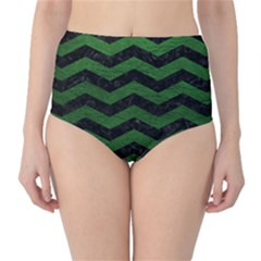 CHEVRON3 BLACK MARBLE & GREEN LEATHER High-Waist Bikini Bottoms