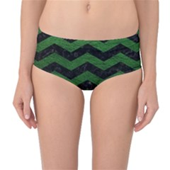 CHEVRON3 BLACK MARBLE & GREEN LEATHER Mid-Waist Bikini Bottoms