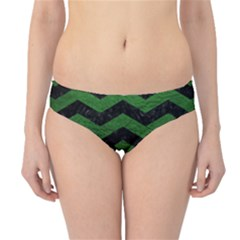 CHEVRON3 BLACK MARBLE & GREEN LEATHER Hipster Bikini Bottoms