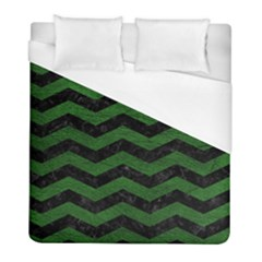 CHEVRON3 BLACK MARBLE & GREEN LEATHER Duvet Cover (Full/ Double Size)