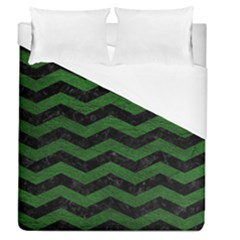 CHEVRON3 BLACK MARBLE & GREEN LEATHER Duvet Cover (Queen Size)