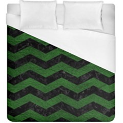 CHEVRON3 BLACK MARBLE & GREEN LEATHER Duvet Cover (King Size)