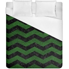 CHEVRON3 BLACK MARBLE & GREEN LEATHER Duvet Cover (California King Size)