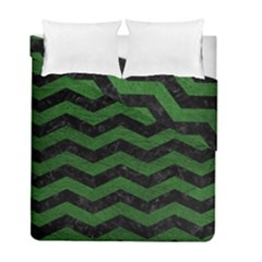 CHEVRON3 BLACK MARBLE & GREEN LEATHER Duvet Cover Double Side (Full/ Double Size)