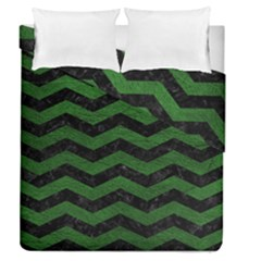CHEVRON3 BLACK MARBLE & GREEN LEATHER Duvet Cover Double Side (Queen Size)