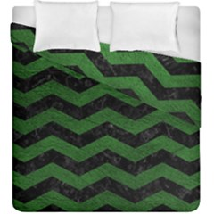 CHEVRON3 BLACK MARBLE & GREEN LEATHER Duvet Cover Double Side (King Size)