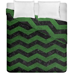 CHEVRON3 BLACK MARBLE & GREEN LEATHER Duvet Cover Double Side (California King Size)