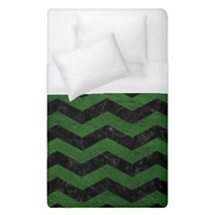 CHEVRON3 BLACK MARBLE & GREEN LEATHER Duvet Cover (Single Size)