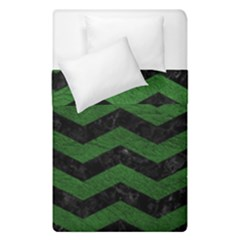 CHEVRON3 BLACK MARBLE & GREEN LEATHER Duvet Cover Double Side (Single Size)