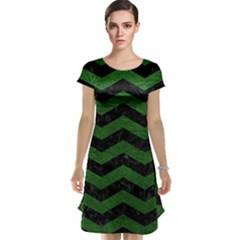 CHEVRON3 BLACK MARBLE & GREEN LEATHER Cap Sleeve Nightdress