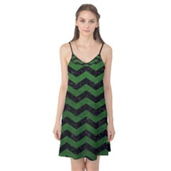 CHEVRON3 BLACK MARBLE & GREEN LEATHER Camis Nightgown