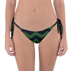 CHEVRON3 BLACK MARBLE & GREEN LEATHER Reversible Bikini Bottom