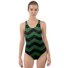 CHEVRON3 BLACK MARBLE & GREEN LEATHER Cut-Out Back One Piece Swimsuit