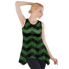CHEVRON3 BLACK MARBLE & GREEN LEATHER Side Drop Tank Tunic