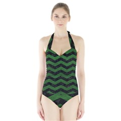 CHEVRON3 BLACK MARBLE & GREEN LEATHER Halter Swimsuit