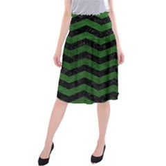 CHEVRON3 BLACK MARBLE & GREEN LEATHER Midi Beach Skirt