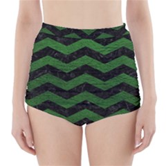 CHEVRON3 BLACK MARBLE & GREEN LEATHER High-Waisted Bikini Bottoms