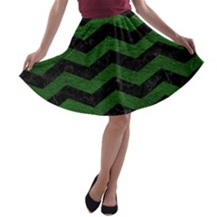 CHEVRON3 BLACK MARBLE & GREEN LEATHER A-line Skater Skirt