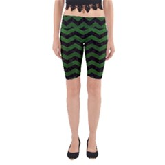 CHEVRON3 BLACK MARBLE & GREEN LEATHER Yoga Cropped Leggings