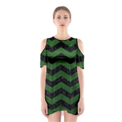 CHEVRON3 BLACK MARBLE & GREEN LEATHER Shoulder Cutout One Piece