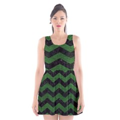 CHEVRON3 BLACK MARBLE & GREEN LEATHER Scoop Neck Skater Dress