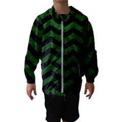 CHEVRON3 BLACK MARBLE & GREEN LEATHER Hooded Wind Breaker (Kids)