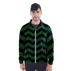 CHEVRON3 BLACK MARBLE & GREEN LEATHER Wind Breaker (Men)