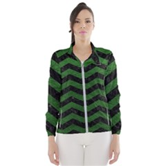 CHEVRON3 BLACK MARBLE & GREEN LEATHER Wind Breaker (Women)