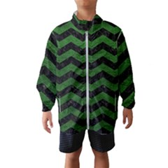 CHEVRON3 BLACK MARBLE & GREEN LEATHER Wind Breaker (Kids)